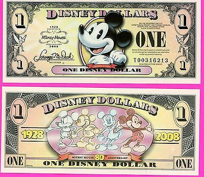 "One 2008 ""T"" Series Mickey Mouse ""MICKEY 1928 to 2008-80th-Disney Dollar Dollars"