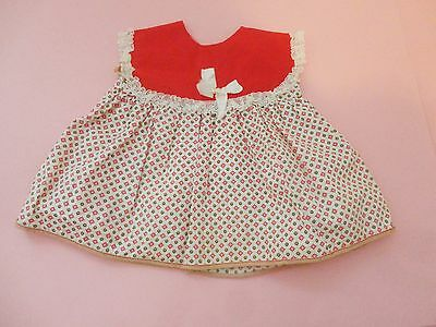 Cute Vintage Red W Printed & Lace Doll Dress