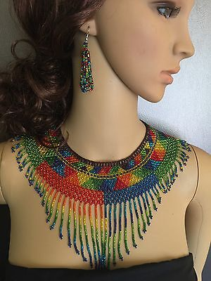 Huichol Beaded Necklace Set With Earrings
