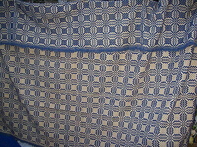 ANTIQUE HAND LOOMED BLUE and WHITE JACQUARD PATTERNED COVERLET / BEDSPREAD / RUG