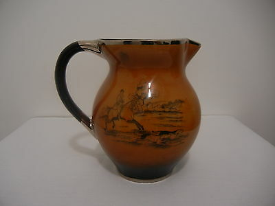 Vintage Arthur Wood England Brown Glazed Pitcher Jug Hunting Staffordshire