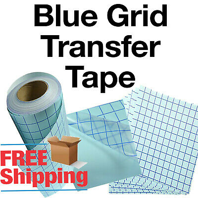 """1 roll-12""""x5' Clear Transfer Tape lined w/blue Grid-Adhesive Vinyl-Craft Project"""