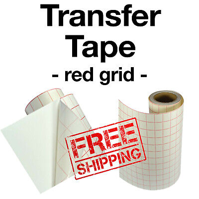 "1 roll-12""x5' Transfer Paper-lined w/Red Grid-Adhesive Vinyl-Craft-Hobby-Cutter"