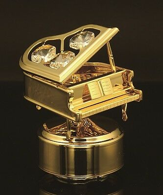 24K Gold Plated Piano Music Box Decorated W/ Authent. Swarovski Crystal Element