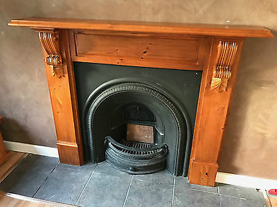 Victorian Fireplace mantle and insert, cast iron, solid timber excellent condit