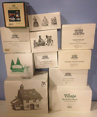 Lot of 11 Dept. 56 Village Building and Accessories, Valued over $300, in org bx