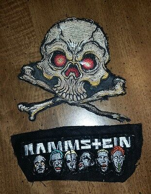 Rammstein Faces 90s Music USED PATCH Skull Crossbones distressed Embroidered vtg