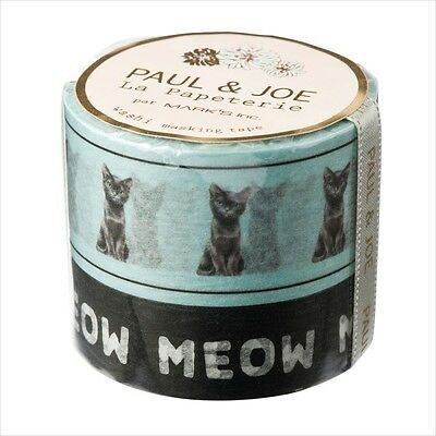 F/S New Paul and Joe CAT Masking Tape WASHI Decorative 2 Rolls from Japan