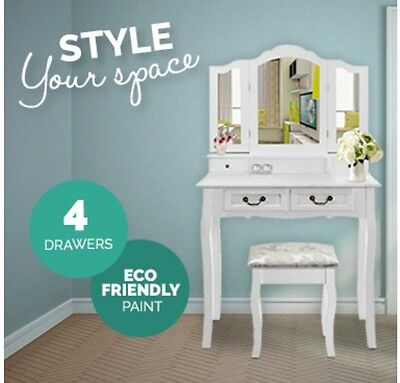 Make-Up Vanity 4 Drawer White Dressing Table with Mirror Stool Organiser Bedroom