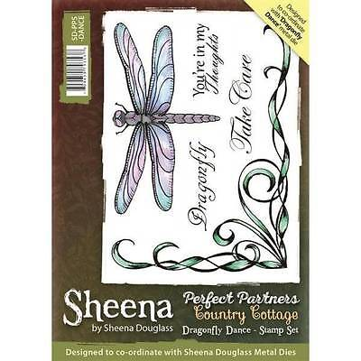Sheena Douglass Perfect Partners Country Cottage DRAGONFLY DANCE A6 Rubber Stamp