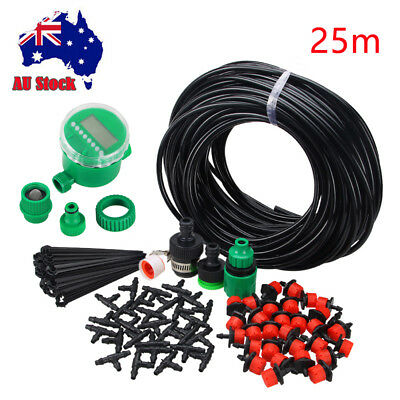 25M DIY Micro Drip Irrigation System Self Watering Auto Plant Garden Hose Set AU