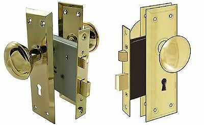2Door Brass Locks Antique Vintage Hardware Set Knob Mortise 2-1/4 in Handle New