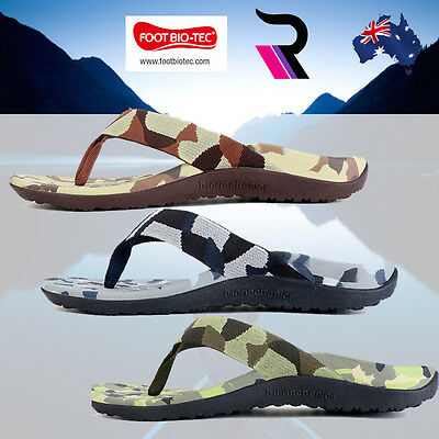 Foot Bio-Tec Mens Womens Arch Support Orthotic Shoes Thongs Pain relief Camo