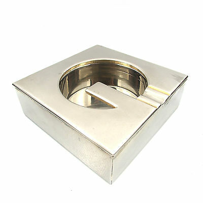Gherardini Firenze Posacenere Square Steel Ashtray Anni 70 Design Vintage Italy