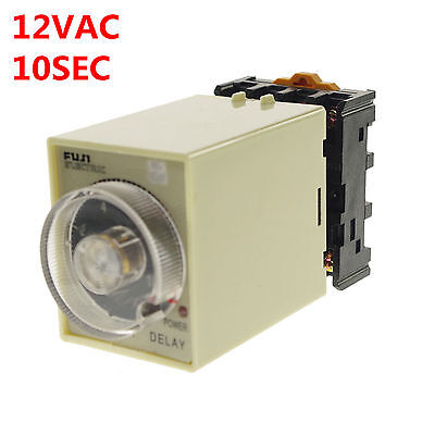 12VAC/DC 0-10 Seconds Power Off Delay Time Relay With Socket Base