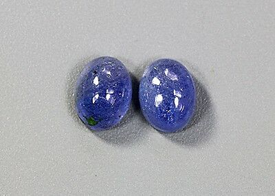 RIESE ! Natürlich Tansanit Cabochon 5,72 ct. Paar . Cabochon