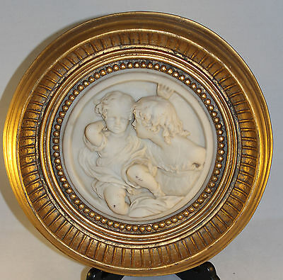 "Gorgeous Cherub Relief Picture In Circular Gilt Frame 11"" Diameter Weighs 1.5Kg"