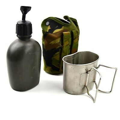 Original Netherlands Dutch Army Canteen with cup and camo cover lid cap