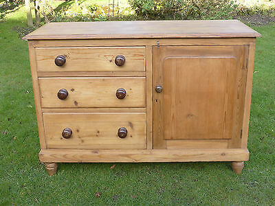 Antique Pine Dresser Base with Three Drawers + Cupboard on Turned Bun Feet