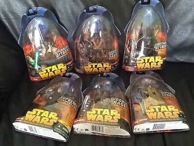 Lot Star Wars Revenge of the Sith Action Figures Vader Chewbacca Yoda Palpatine