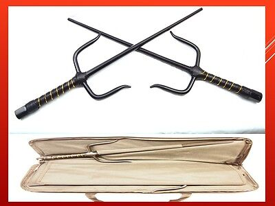 Martial Arts Karate Ninja Sword Black Sais w Collection Carrying Zipped Bag Case