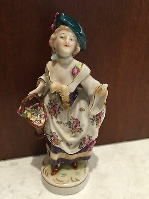 Antique German Porcelain Woman & Basket of Flowers Handpainted with Gilt Accents