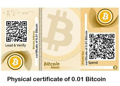 Physical certificate with gift BTC 0.01 Crypto currency ! Bitcoin