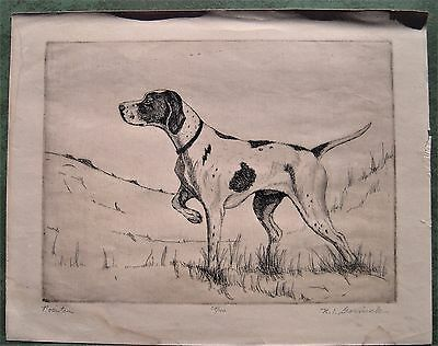 DOG PRINT original etching titled POINTER signed by Nathan Gornick ltd ed