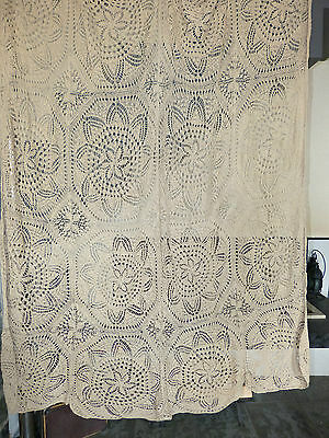 Vintage retro shabby chic hand-crocheted cotton lace curtain