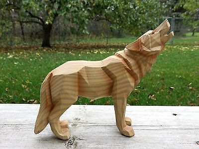 "WOLF FAUX WOOD CARVING COUNTRY COTTAGE CABIN RESIN 6.2"" x 6""  HOWLING NEW WOLVES"