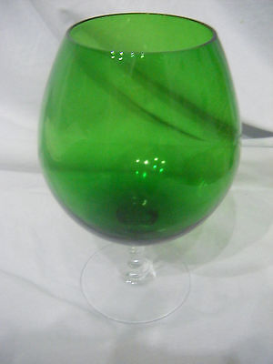 Vintage Retro 1960's / 70's Brandy Glass *GREEN* Ballon Vase - 7.5'' high
