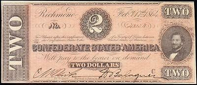 Awesome HIGH GRADE 1864 T-70 $2 CSA Confederate Note FREE SHIPPING! 48134