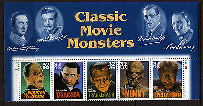 #204 US Stamp Scott#3168-3172 32c HOLLYWOOD MOVIE MONSTERS MNH 1997 Top sheet