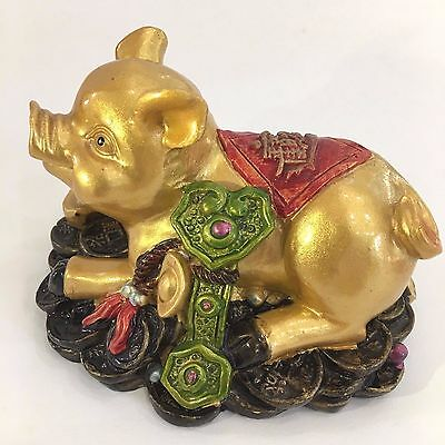 Chinese carve Money Feng Shui Attract Wealth Lucky Pig Statue