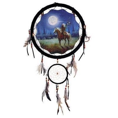 "13"" long Indian & Horse Dream Catcher beads feathers wall hanging home decor"