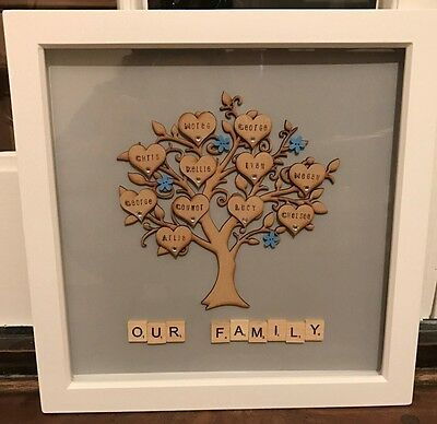 Personalised family tree scrabble art frame great gift for all occassions colour