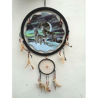 "13"" Northern Lights wolves Dream Catcher beads feathers wall hanging home decor"