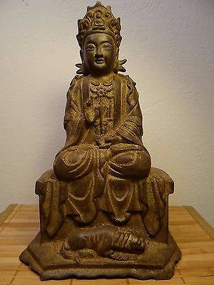 Tibet China Old Antique Stunning Buddha Pu Xian Cast Iron 10""
