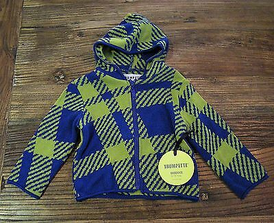 NWT Trumpette Boutique 6-12 mos Zip Hoodie Knit Sweater Jacket Modern Blue Lime