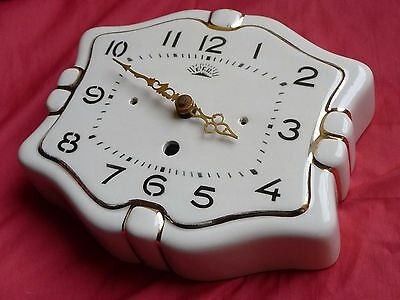 Belle horloge ancienne céramique FFR mouvement neuf  FRENCH VINTAGE WALL CLOCK