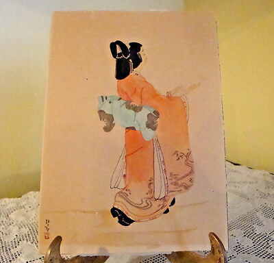 Vintage Japanese Woodblock Print Geisha Girl with a Paper Signed Trimmed