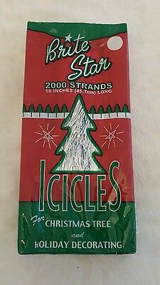 """2000 STRANDS ~ ICICLES SILVER TINSEL ICICLES 18"""" LONG CHRISTMAS TREE Made In USA"""