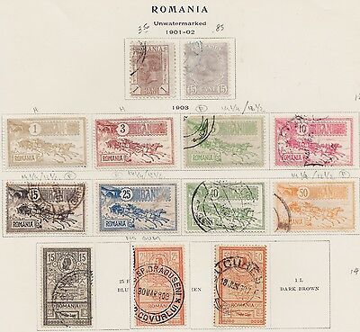1903 Romania - Old Page Album - Mail Coach, New Post Office , + Forgeries Mint U