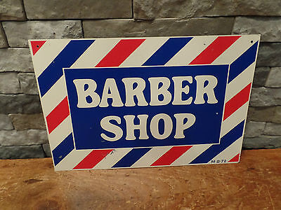 "Vintage Barber Shop Sign Painted Metal M-8-72 18"" x 12"" Nice"