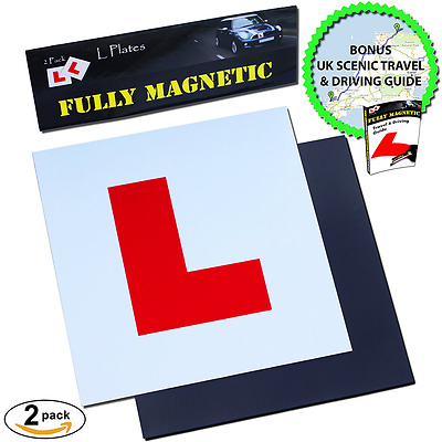 2x Extra Strong Magnetic L Plates for Learner Drivers, BONUS Scenic Drive and Ti