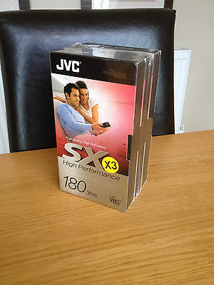 JVC  SX High Performance 180 3hrs Video Tapes Pack of 3