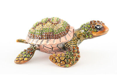 Copper Sea Turtle Fish Jewelry Trinket Box Decoration Collectible Gift 02053
