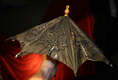 Antique Victorian Black Silk Beaded Carved Handle Parasol small