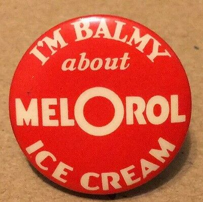 Vintage Mel O Rol Ice Cream Pin Back Button 15/16 Inch