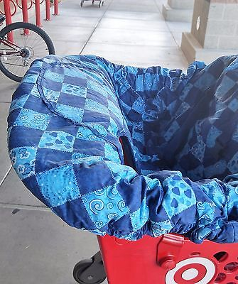 Floppy Seat Grocery Shopping Cart/High Chair Cover Blue Stars Patchwork Pattern